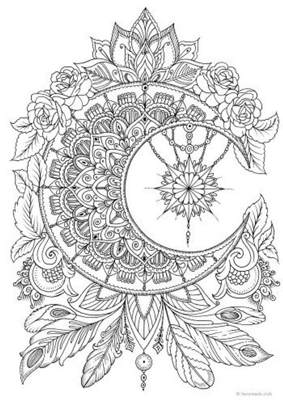 Moon - Printable Adult Coloring Page from Favoreads (Coloring book ...