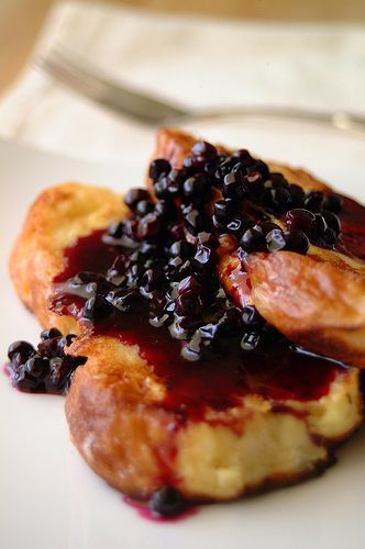 French Toast with Blueberry Syrup
