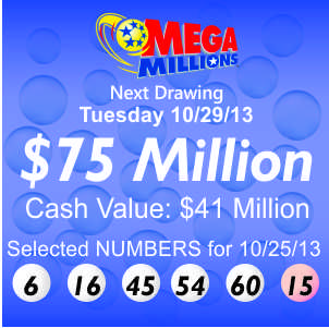Mega Millions rolls up to $75 Million for Tuesday 10/29, while Powerball drops to $40 Million for tonight's 10/26 draw after one Fresno, CA ticket won the Jackpot on Wednesday, 10/23