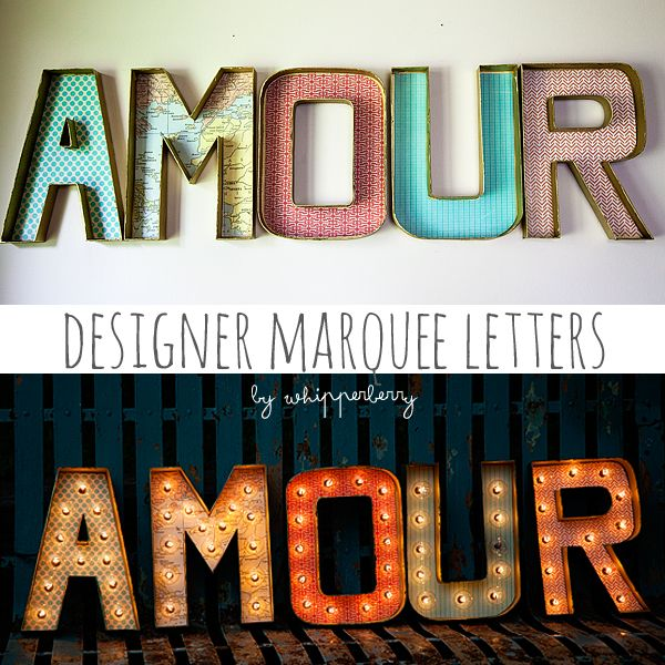 Designer marquee letters, Whipperberry (designer letters [linked tutorial - uses premade paper mache letters and scrapbook paper], hole punch, self-healing cutting mat, globe string lights)
