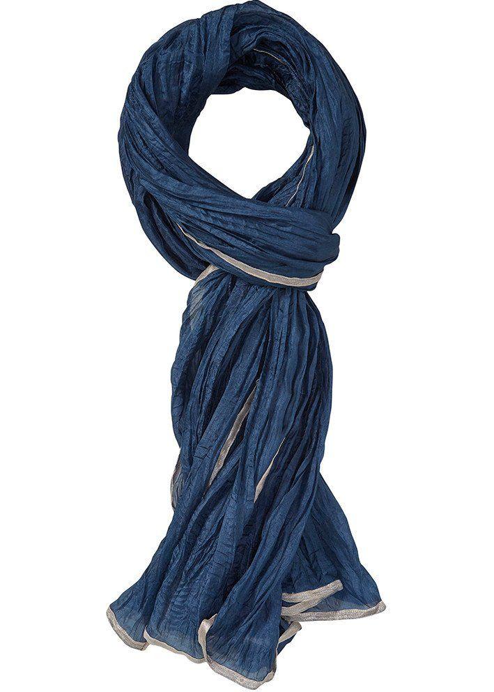 Tørklæde blå 22802 Crinkled Silk Scarf - 25 water mirror