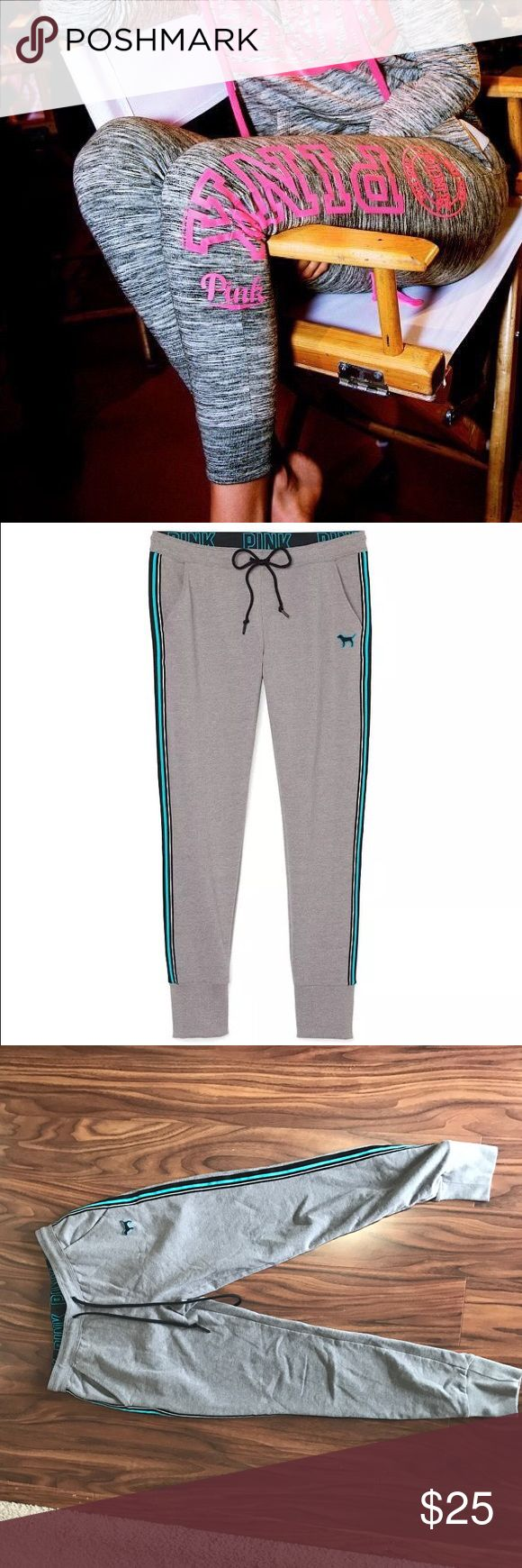 🔥SALE🔥 Vs pink skinny sweat pant collegiate The first pic is not the actual item but the rest are. Size XS - great condition. Blue stripe down the side. Bundle with an additional item for 20% off! PINK Victoria's Secret Pants Track Pants & Joggers