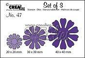 Set of 3 stansen/dies no. 47, Bloemen 19 / Flowers 19