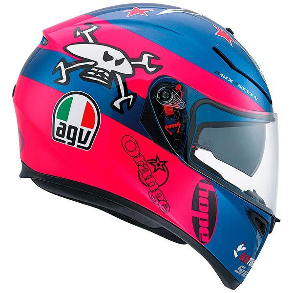 Casco AGV K-3 SV Guy Martin Replica. Basada en el casco de Guy Martin, participante en eventos como la Isla de Man y el Gran Prix de Ulster. Rosa y azul