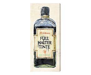 Stampa da parete canvas su legno Vintage Inks 2 - 76x30x4 cm