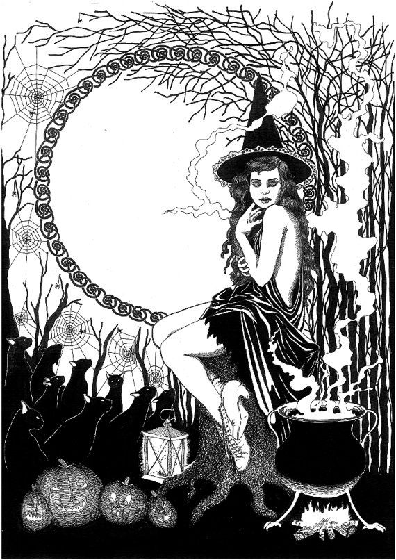 halloween witch digital image of original ink drawing for print printing - Halloween Witchcraft