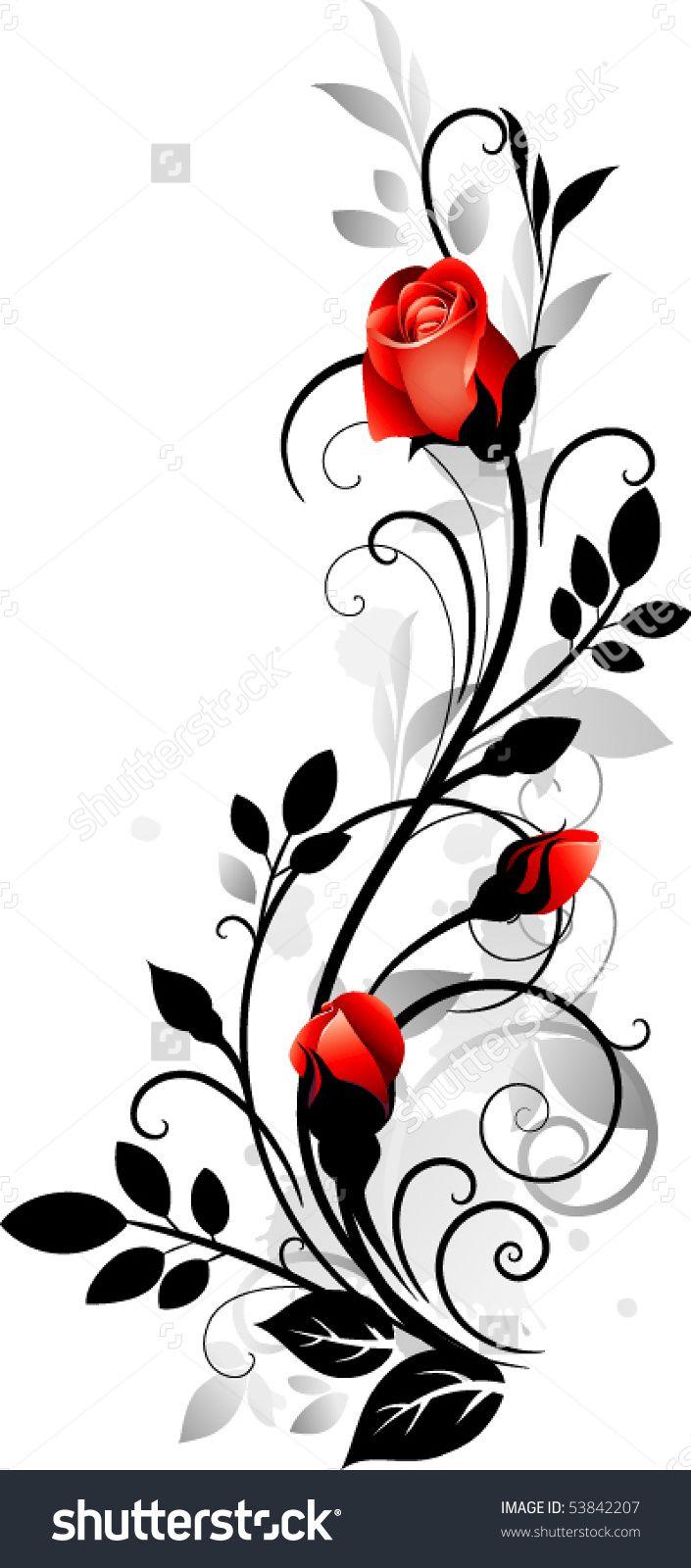 ornament with roses broderie pinterest dessin fleur. Black Bedroom Furniture Sets. Home Design Ideas
