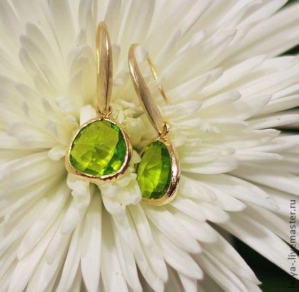 Позолоченые серьги Лимонад - серьги,маленькие серьги,нежные серьги,ярко-зелёный