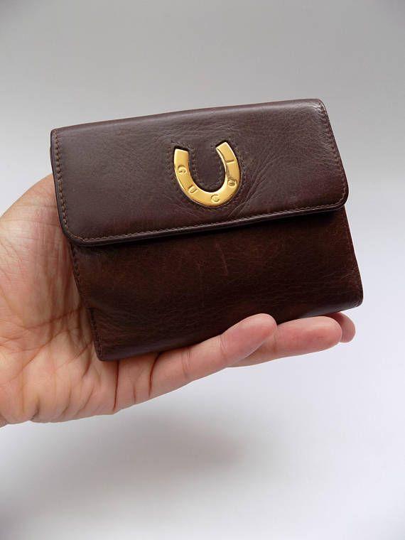 Sale GUCCI Vintage Brown Leather Wallet / Purse/ Card holder.