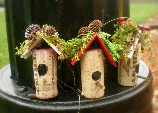 Wine Cork Birdhouse Ornaments by lara
