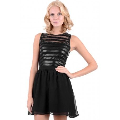 Black Skater Dress With Faux Leather Detail