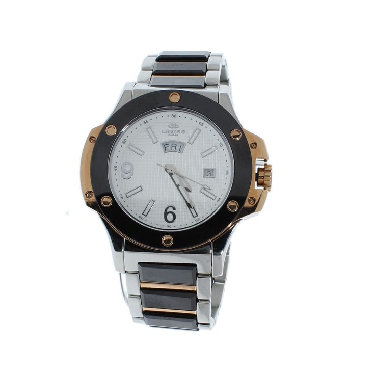 Oniss on612 m men 39 s watch black ceramic stainless steel band white dial products pinterest for Ceramic man watch