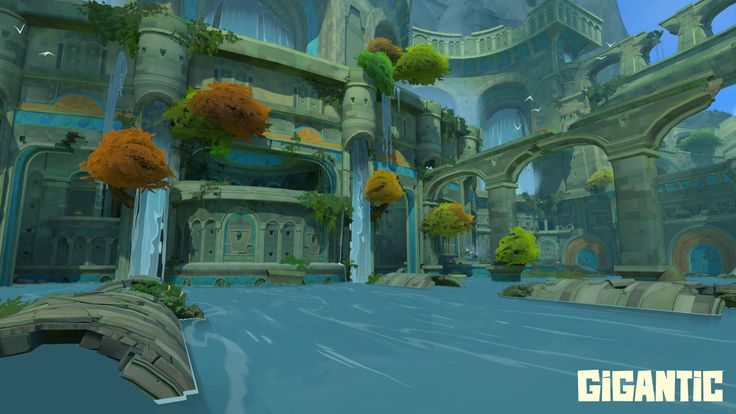 Combatants in Mistforge must contend with the occasional water hazard.