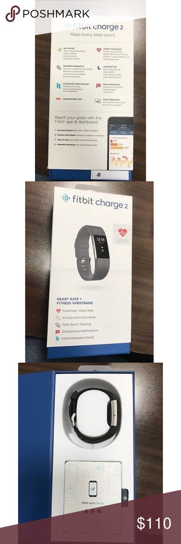 Fitbit Charge 2 - Used for 4 months. Purchased at Best Buy in June 2017 for $149. Size small. Other