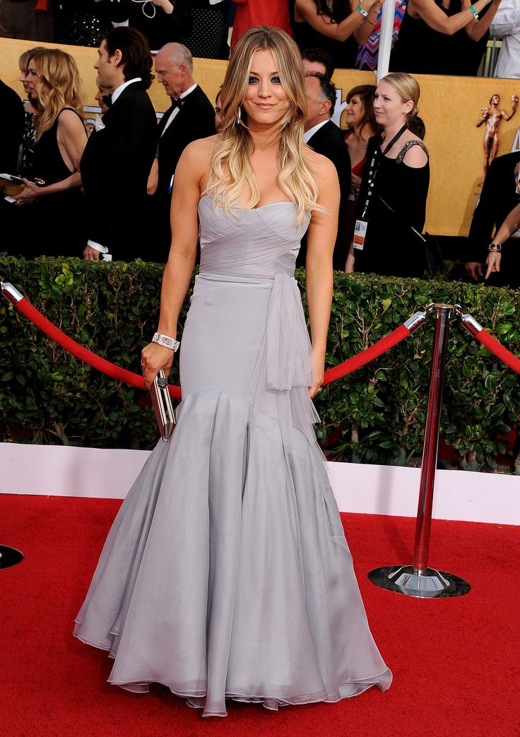 2014 SAG Awards: Kaley Cuoco wowed in a soft gray Vera Wang gown.