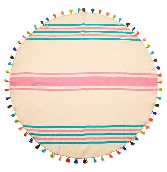 Favorite beach accessory: round tassel-trimmed beach blanket