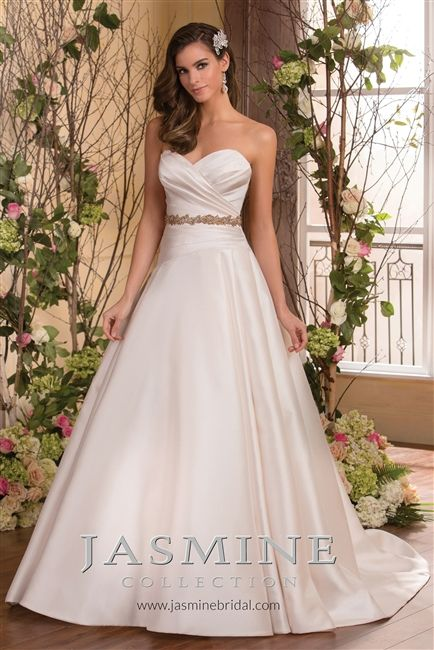 Classic ball gown wedding dress 2015 beautiful satin a for Beautiful fitted wedding dresses