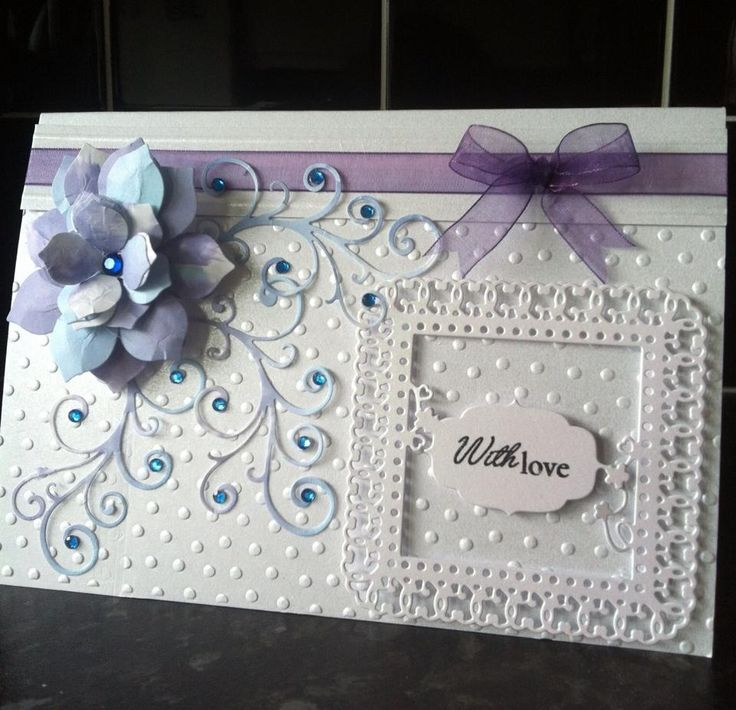 Card Making Ideas Using Tattered Lace Dies Part - 39: Hand Quilled Flower On Embossed Card Using Tattered Lace Die And Sentiment.  Finished With A