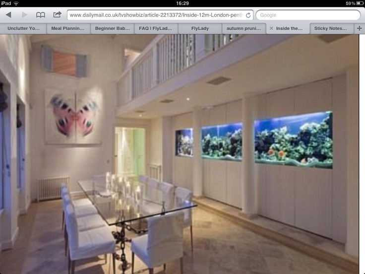 Aquariums Saltwater Fish Tanks 'I want this dining room, how amazing is that fish tank.'