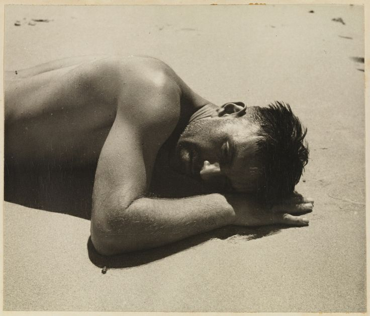 """photo: Max Dupain - Harold Salvage sunbaking, variant to """"The Sunbather"""" from Camping trips on Culburra Beach by Max Dupain and Olive Cotton 1937"""