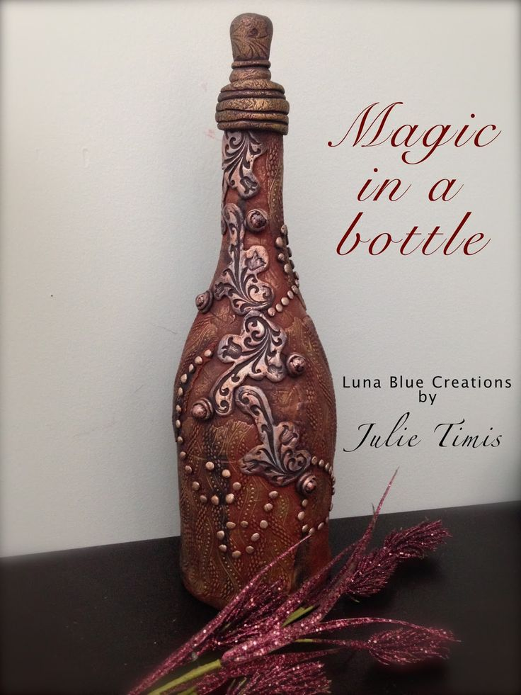 """Polymer clay wine bottle """"Magic in a Bottle"""". Tips & ideas on how to create…"""