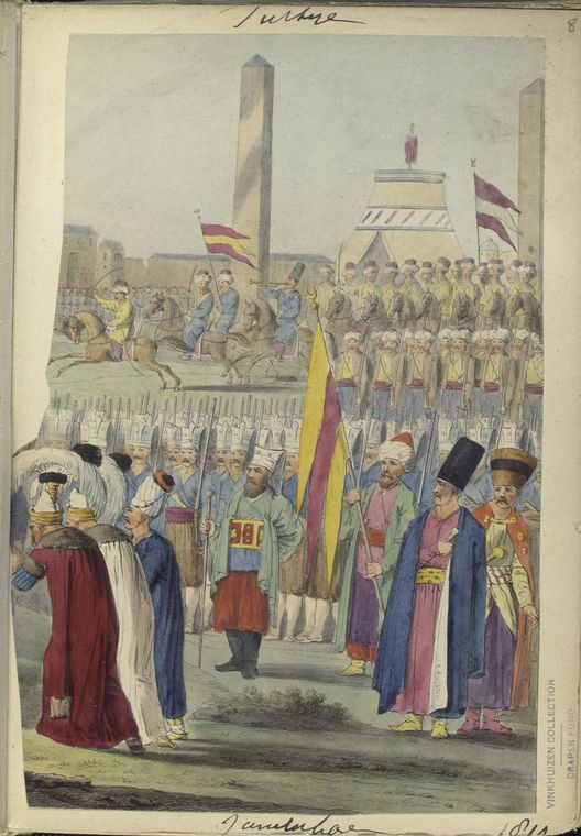 Janissaries in the foreground, Spahi in background, officers at very front. The Vinkhuijzen collection of military uniforms / Turkey, 1812. See McLean's Turkish Army of 1810-1815.