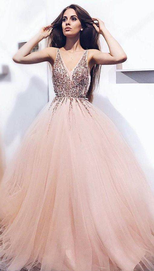 a9ca3ef5a84 A-Line Pearl Pink Tulle V Neck Long Prom Dress with Sequins  sequins  tulle   puffy vneck  prom  gown  okdresses