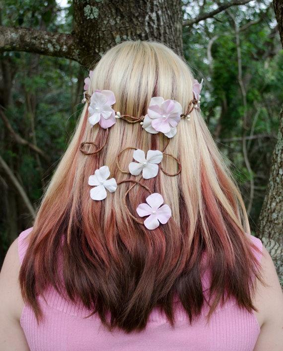 Woodland Bridal Hair Wreath  Fairy Crown  by Frecklesfairychest, $42.00
