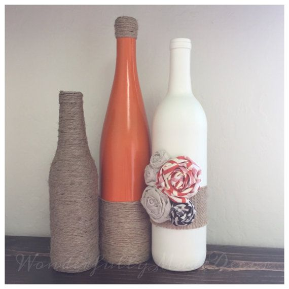 Recycled Wine Bottles . Rustic Fall Decor by WonderfullyMadeDecor