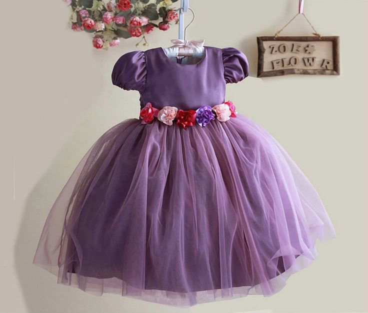 Dress zoe flower purple, sz 2-7tahun