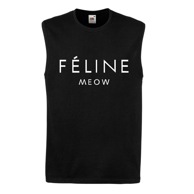 FELINE-MEOW-CAT-SLEEVELESS-VEST-T-SHIRT-FUNNY-HIPSTER-CARA-TUMBLR-DOPE-SWAG-TOP