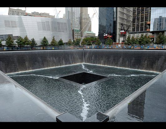A view of the World Trade Center South Tower memorial pool at the National September 11 Memorial and Museum in New York, Sept. 6, 2011. The memorial will open to the public on Sept. 12, 2011, one day after the 10th anniversary of the 9/11 attacks. (Susan Walsh/AP Photo)