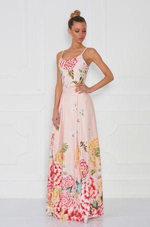 Jedinečná maxi sukňa s výraznou kvetinovou potlačou zladená s jemnou púdrovou farbou, z limitovanej Zsolnay kolekcie. Vhodná na spoločenské príležitosti.