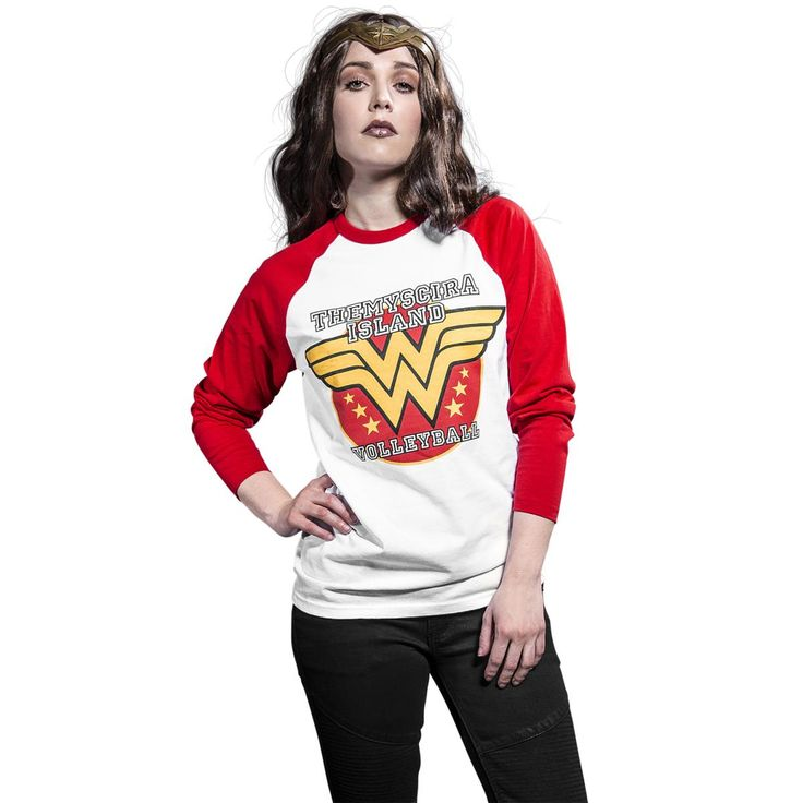 If you're a volleyball fan dying to join the Themyscira Island league, this white/red long-sleeved Wonder Woman shirt is for you. The white shirt with red sleeves and collar shows the Wonder Woman logo and name of the famous volleyball league on the front.