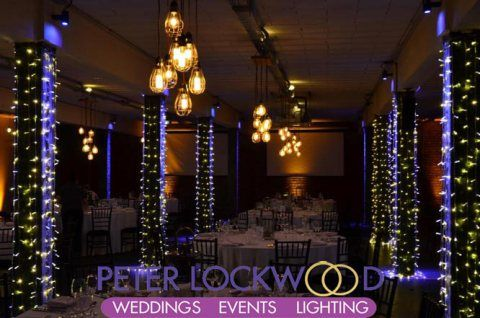table edison lighting for a wharehouse wedding in manchester