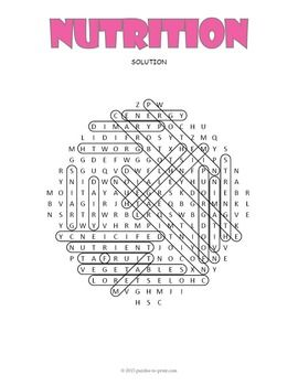 nutrition word search puzzle healthy pinterest word search