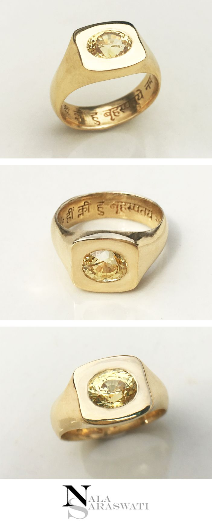 Signet style 18k gold ring with a yellow sapphire and very detailed sanskrit engraving the