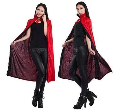 Halloween Dracula Cape Vampire Cape Black Red Unisex Collar Cloak Party Costume #Doesnotapply