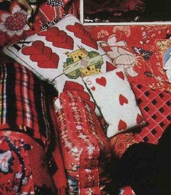 Diana Vreeland needlepointed these pillows.  Mrs. Blandings: DV DIY
