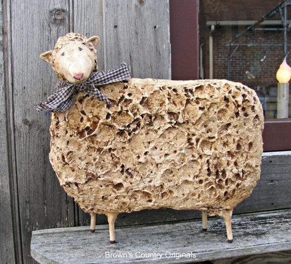 Paper Mache Primitive Folk Art Sheep PM551 by brownsco
