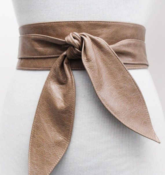 Distressed Beige Leather Obi Tulip Tie Belt  Waist Wrap Belt