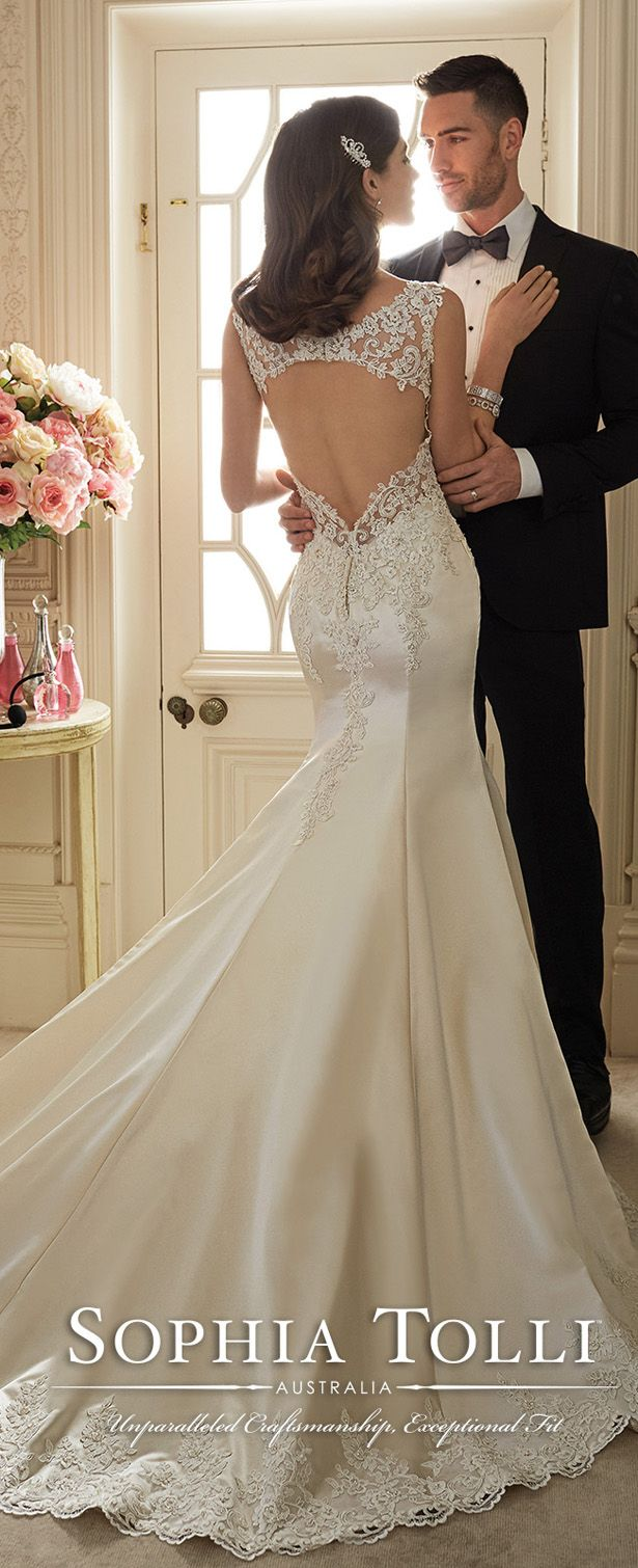 This one is just looking at the back detailing, I'm, i like the bottom bit, not sure about a keyhole though, as I know I want my long hair down my back!   sophia tolli lace keyhole back wedding dresses spring 2016 Y11629