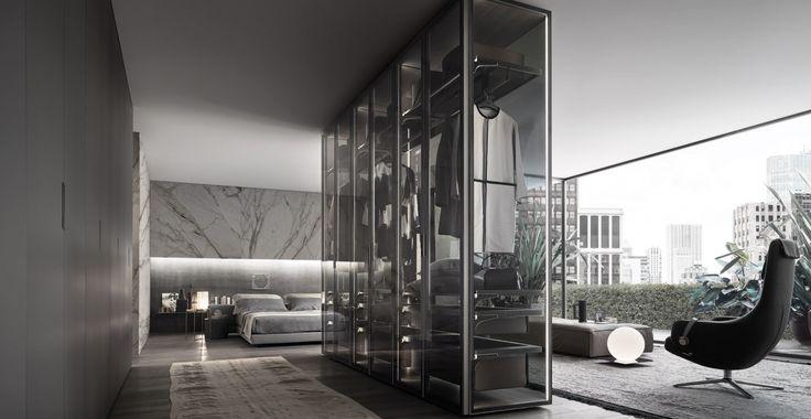 Cover Freestanding is een systeem van modulaire garderobekasten met aluminium en glazen deuren met zij- en achterpanelen. Rimadesio Italiaans design