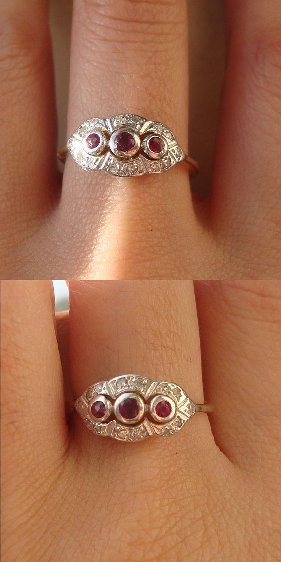 Art Deco Diamond And Ruby Engagement Ring Vintage By Luxedeluxe I Want This To Be