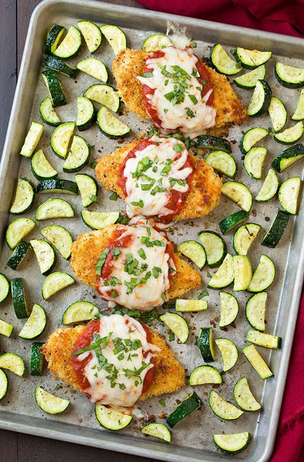One Pan Chicken Parm and Roasted Zucchini