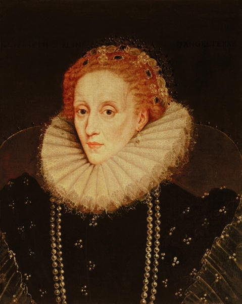 Portrait of Queen Elizabeth I.  (1533-1603) by Marcus, the Younger Gheeraerts. Portrait painted when Elizabeth was about fifty. This is my personal favorite of all portraits of the Queen.