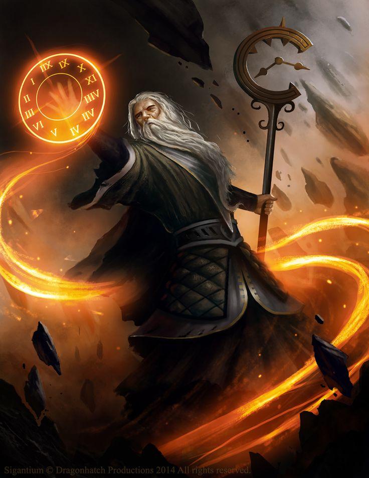 Mago, humano, fogo, tempo, conjurando magia
