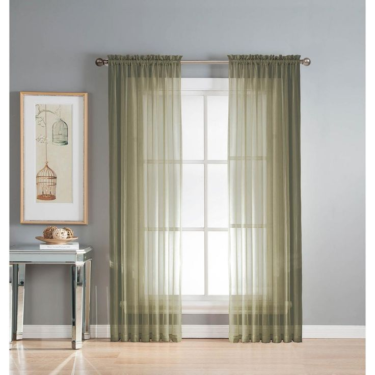 Window Elements Sheer Diamond Sheer Olive (Green) Rod Pocket Extra Wide Curtain Panel, 56 in. W x 84 in. L