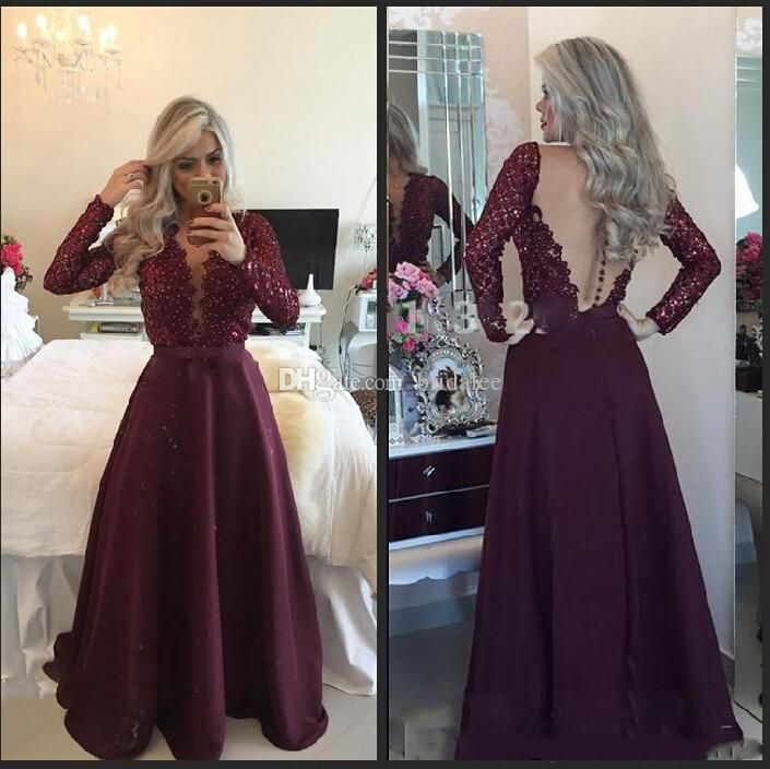 Plus Size Long Sleeve Beaded Lace Prom Dresses