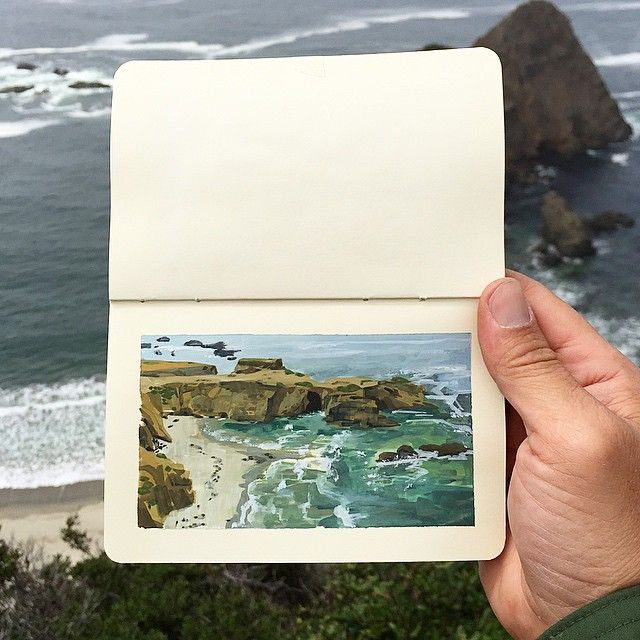 """duttonart: """" Back on the PCH, I met a cyclist touring down from Washington, named Willi. He told me about how he left his bartending job, how to load a touring rig, how to get an A+ in passing..."""
